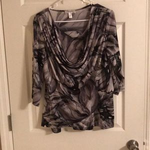 Dressbarn 3/4 Sleeve Blouse Black and Gray